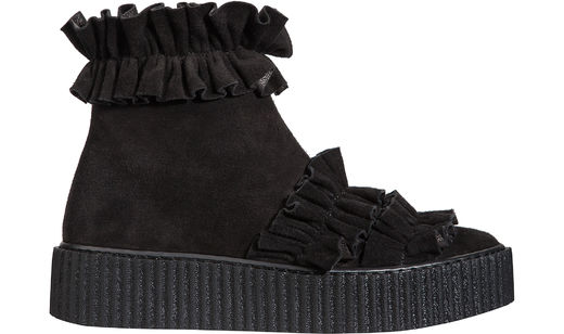 RUFFLE BOOT black suede